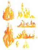 Sistema de la llama de la acuarela stock de ilustración