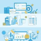 Sistema de la línea banderas del concepto para el negocio y las finanzas Fotografía de archivo