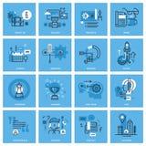 Sistema de la línea fina básica iconos del concepto para el sitio web Fotografía de archivo
