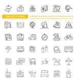 Sistema de la línea viaje del concepto del icono Fotos de archivo libres de regalías
