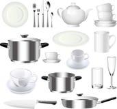 Sistema de la loza y de las mercancías de la cocina Imagen de archivo libre de regalías