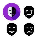 Sistema de la máscara de la emoción en el estilo de la silueta, vector ilustración del vector