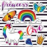 Sistema de la magia del vector de etiquetas engomadas con unicornio, el arco iris y la mariposa Imagen de archivo