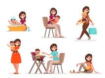 Sistema de la mamá y del bebé La madre alimenta, se baña y juega con el niño Ilustración del vector Ilustración del Vector