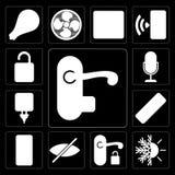 Sistema de la manija, calefacción, persiana, telecontrol, enchufe, control de la voz, Unlo ilustración del vector