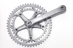 Sistema de la manivela de la bici y anillo de la cadena imagen de archivo