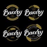 Sistema de la mano de la panadería escrito poniendo letras al logotipo, etiqueta, insignia, emblema Foto de archivo libre de regalías