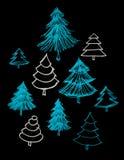 Sistema de la mano de los árboles dibujado Fotografía de archivo libre de regalías