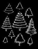Sistema de la mano de los árboles dibujado, Imagen de archivo libre de regalías
