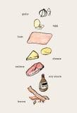 Sistema de la mano dibujado cocinando los garabatos, comida cruda de los ingredientes color Imagenes de archivo