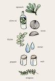 Sistema de la mano dibujado cocinando los garabatos, comida cruda de los ingredientes color Imagen de archivo libre de regalías