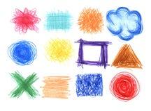 Sistema de la mano dibujado en fondos del creyón stock de ilustración
