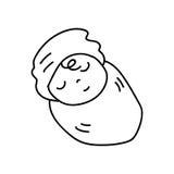 Sistema de la mano que dibuja al bebé recién nacido de la historieta abstracta Imagen de archivo libre de regalías