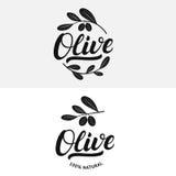 Sistema de la mano verde oliva escrito poniendo letras al logotipo, a la etiqueta, a la insignia o al emblema Foto de archivo