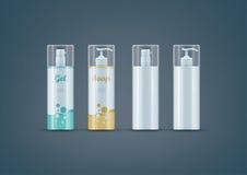 Sistema de la maqueta de las botellas del jabón/del gel Fotos de archivo libres de regalías