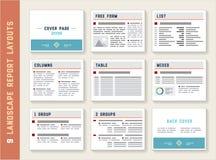 Sistema de la maqueta de las plantillas de la disposición del álbum del paisaje del informe del documento Fotografía de archivo libre de regalías