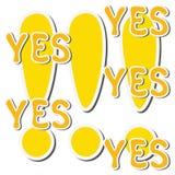 Sistema de la marca y de la palabra amarillas de exclamación de la etiqueta engomada sí libre illustration