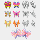 Sistema de la mariposa colorida y negra libre illustration