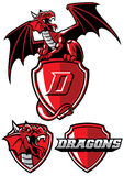 Sistema de la mascota del dragón stock de ilustración