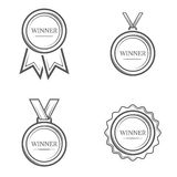 Sistema de la medalla del ganador de emblemas, de etiquetas, de insignias y de logotipos monocromáticos del vintage del vector Foto de archivo libre de regalías