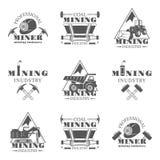 Sistema de la minería de emblemas, de etiquetas, de insignias monocromáticas y de logotipos del vintage del vector aislados en el Fotos de archivo libres de regalías