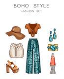 Sistema de la moda de la ropa de la mujer, de accesorios, y del sistema del clip art de los zapatos ilustración del vector