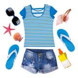 Sistema de la moda de la señora de ropa del verano aislado en blanco Foto de archivo