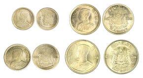 Sistema de la moneda del satang de Tailandia aislada Fotografía de archivo