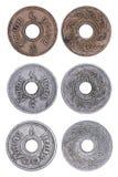 Sistema de la moneda del satang de Tailandia aislada Imagen de archivo libre de regalías