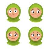 Sistema de la muchacha árabe con la expresión trastornada de la cara del hijab aislada en blanco stock de ilustración