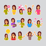 Sistema de la muchacha de las etiquetas engomadas para el mensajero, icono Logo Collection Different Emotion colorido de la etiqu Imagen de archivo