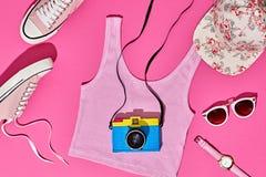 Sistema de la muchacha del inconformista del verano Diseño de la moda, mínimo Imagen de archivo
