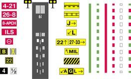 Sistema de la muestra del campo de aviación ilustración del vector