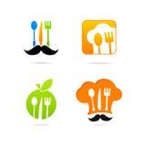 Sistema de la muestra del menú del logotipo de la cocina de Icon del cocinero Imágenes de archivo libres de regalías