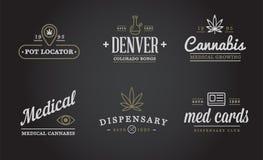 Sistema de la muestra médica de la marijuana del cáñamo o plantilla de la etiqueta en vector Puede ser utilizado como logotipo ilustración del vector