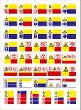 Sistema de la muestra obligatoria, muestra de peligro, muestra prohibida, muestras de seguridad y sanidad profesionales, letrero  stock de ilustración