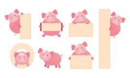 Sistema de la muestra de la tenencia del personaje de dibujos animados del cerdo imagenes de archivo