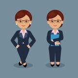 Sistema de la mujer de negocios que se coloca en la diversa acción Imagen de archivo