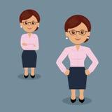 Sistema de la mujer de negocios que se coloca en la diversa acción Foto de archivo