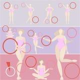 Sistema de la mujer del aro de la gimnasia rítmica libre illustration