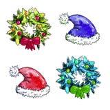 Sistema de la Navidad de la acuarela ilustración del vector