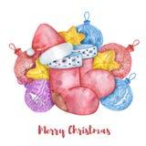 Sistema de la Navidad de la acuarela de bolas de la Navidad, de estrellas del amarillo y de sombreros de la Navidad ilustración del vector