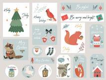 Sistema de la Navidad, animales y elementos dibujados mano libre illustration