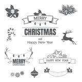 Sistema de la Navidad con los elementos del diseño, elementos tipográficos, decoros Foto de archivo libre de regalías
