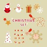 Sistema de la Navidad de caracteres del día de fiesta y de elementos decorativos Imagen de archivo libre de regalías