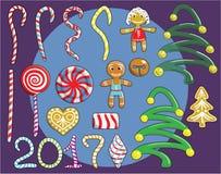 Sistema de la Navidad de caramelo Foto de archivo