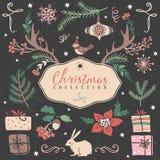 Sistema de la Navidad de ejemplos festivos dibujados mano Imagen de archivo