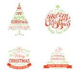 Sistema de la Navidad de etiquetas y de emblemas Imagen de archivo libre de regalías