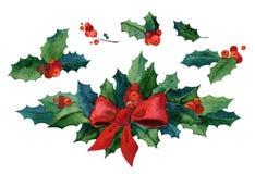 Sistema de la Navidad de la acuarela Imagen de archivo