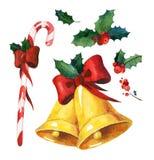 Sistema de la Navidad de la acuarela Imágenes de archivo libres de regalías